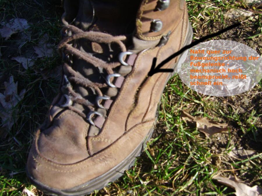 outdoor-Schuhe falsch konstruiert