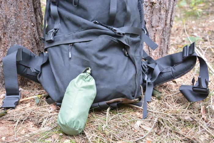 Verpackte Rucksack-Regenhülle